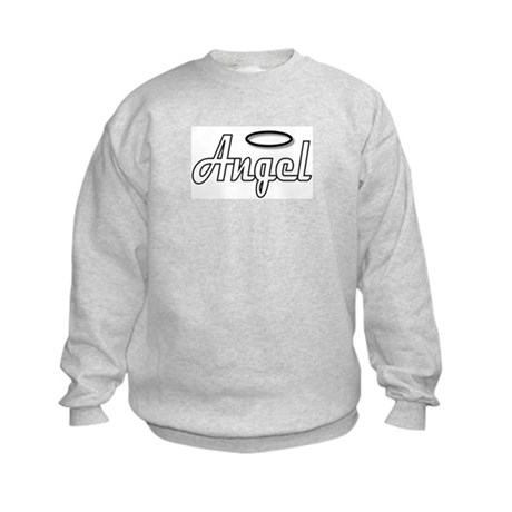 Goth Angel Wings on back Kids Sweatshirt