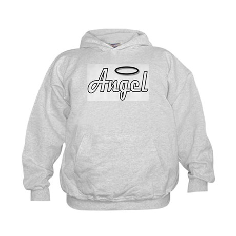 Goth Angel Wings on back Kids Hoodie