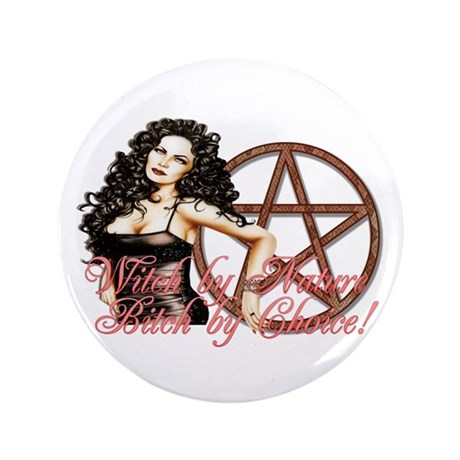 "Seductive Witch Pentagram 3.5"" Button"
