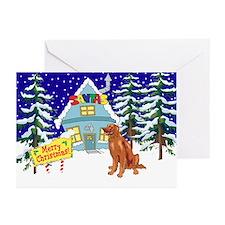 Santas Place Irish Setter Greeting Cards (Pk of 10