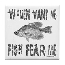 FISH FEAR ME Tile Coaster