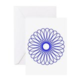 Blue Spirograph Greeting Card