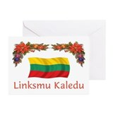 Lithuania Linksmu Kaledu 2 Greeting Cards (Pk of 1