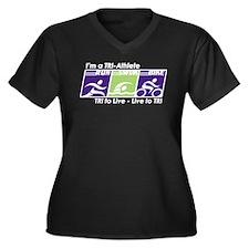 TRI-Athlete Women's Plus Size V-Neck Dark T-Shirt