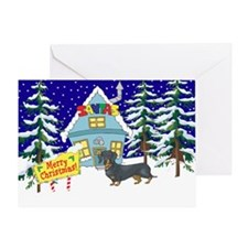 Santas Place Dachshund Greeting Card