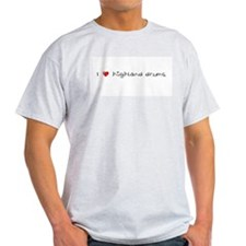 I Heart Highland Drums Ash Grey T-Shirt