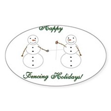 Fencing Holiday Oval Sticker (50 pk)