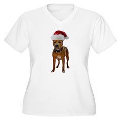 Pit Bull Christmas Women's Plus Size V-Neck T-Shir