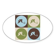 Field Hockey Pop Art Oval Decal