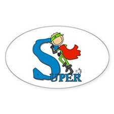 Super Stick Figure Hero Oval Sticker (10 pk)