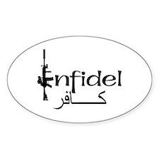 English Arabic Infidel Oval Decal