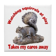 Squirrels at Play Tile Coaster