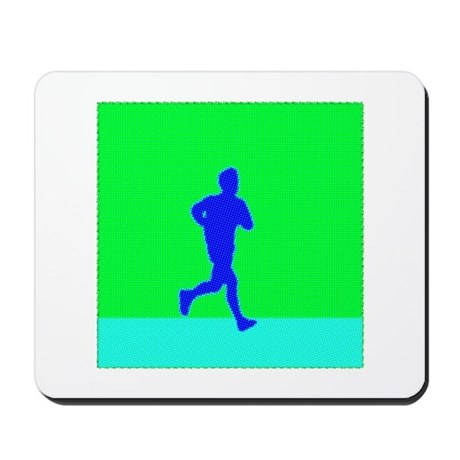PIXEL BLUE RUNNER Mousepad