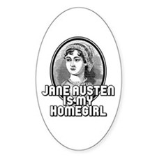 Jane Austen Oval Decal