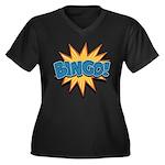 Bingo Bang Women's Plus Size V-Neck Dark T-Shirt