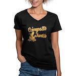 Campsite Junkie Women's V-Neck Dark T-Shirt