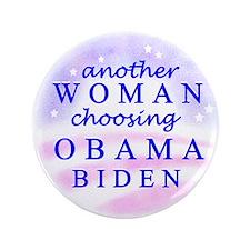 """Woman choosing Obama 3.5"""" Button"""