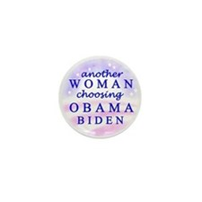 Woman choosing Obama Mini Button