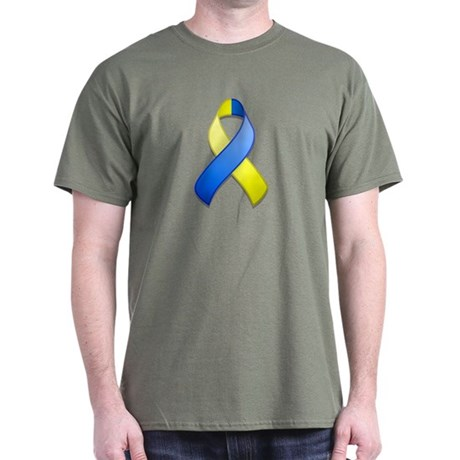 Blue and Yellow Awareness Ribbon Dark T-Shirt