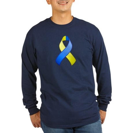 Blue and Yellow Awareness Ribbon Long Sleeve Dark