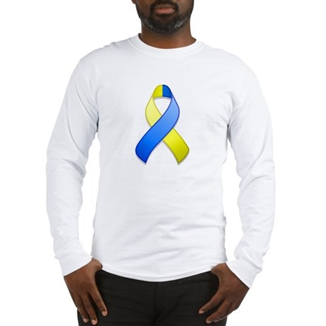 Blue and Yellow Awareness Ribbon Long Sleeve T-Shi