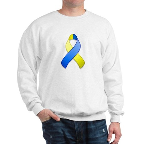Blue and Yellow Awareness Ribbon Sweatshirt