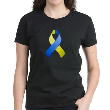 Blue and Yellow Awareness Ribbon Women's Dark T-Sh