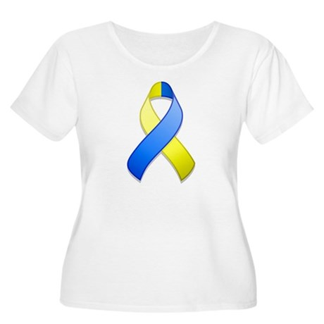 Blue and Yellow Awareness Ribbon Women's Plus Size