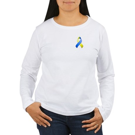 Blue and Yellow Awareness Ribbon Women's Long Slee