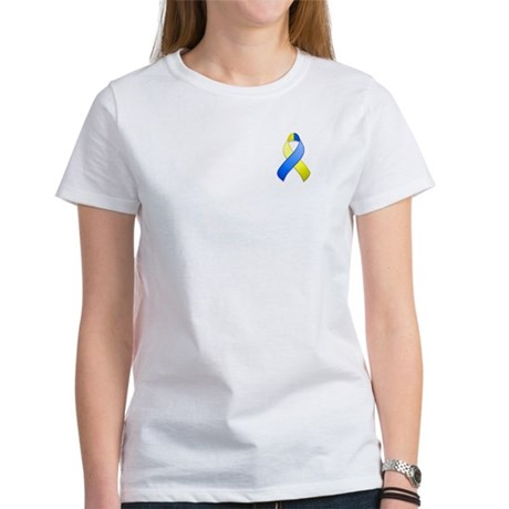 Blue and Yellow Awareness Ribbon Women's T-Shirt