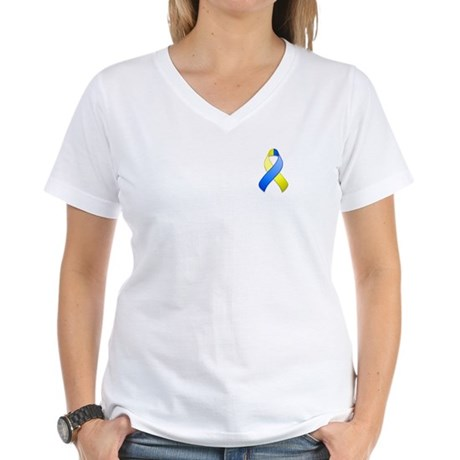 Blue and Yellow Awareness Ribbon Women's V-Neck T-