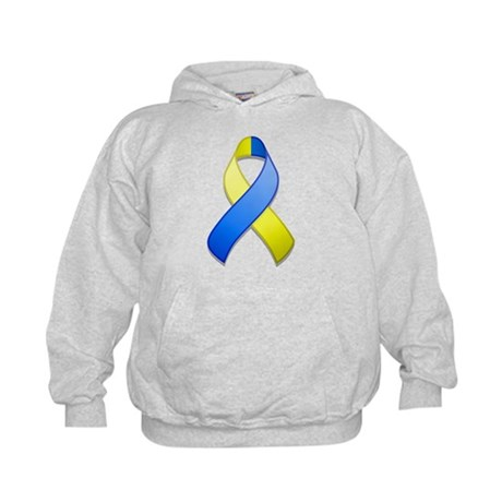 Blue and Yellow Awareness Ribbon Kids Hoodie