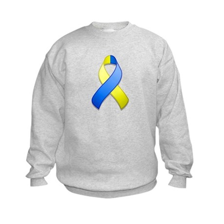 Blue and Yellow Awareness Ribbon Kids Sweatshirt
