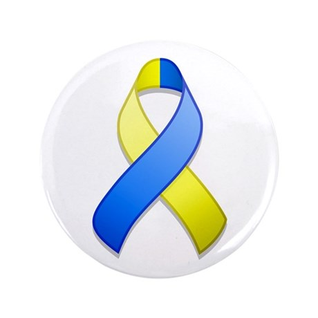 "Blue and Yellow Awareness Ribbon 3.5"" Button"