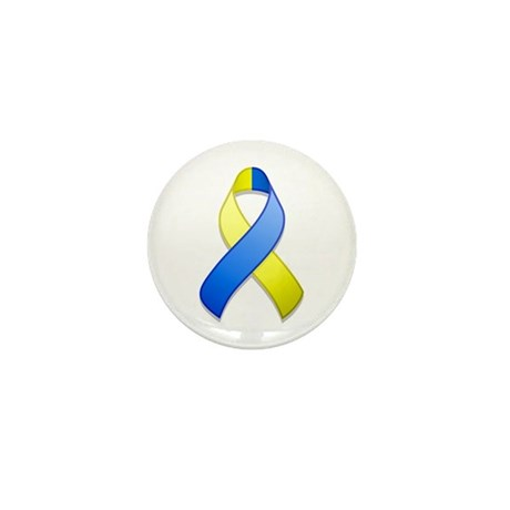 Blue and Yellow Awareness Ribbon Mini Button