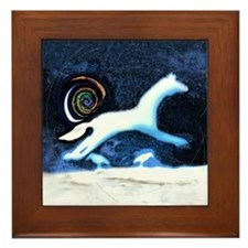 white horse and birds Framed Tile
