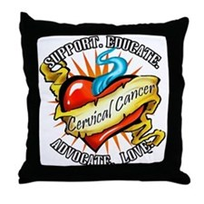 Cervical Cancer Tattoo Heart Throw Pillow