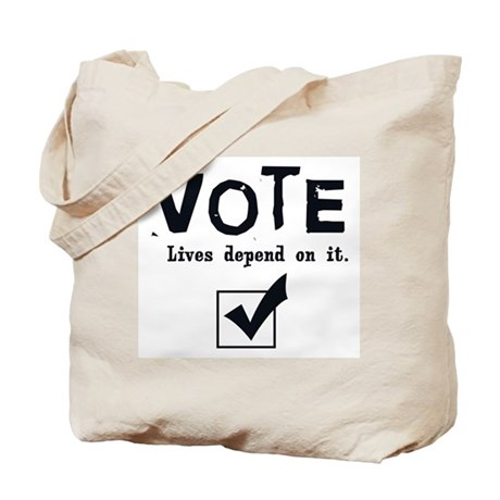 Vote: Lives Depend on It Tote Bag