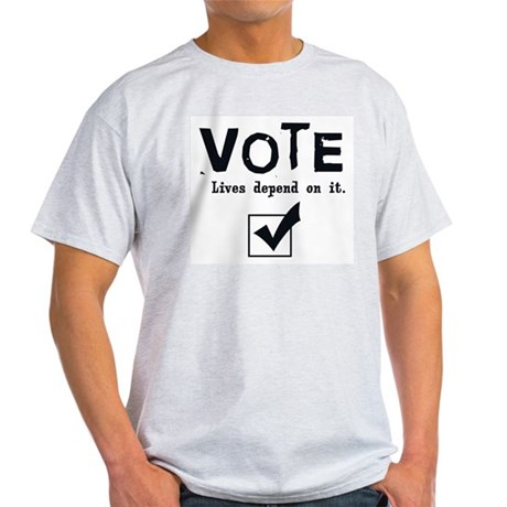 Vote: Lives Depend on It Ash Grey T-Shirt