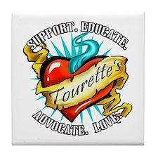 Tourette's Tattoo Heart Tile Coaster