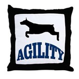 Agility Doberman Throw Pillow