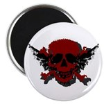 Red and Black Graphic Skull Magnet