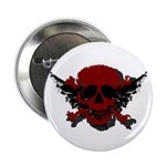 "Red and Black Graphic Skull 2.25"" Button (10"
