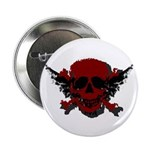 "Red and Black Graphic Skull 2.25"" Button"