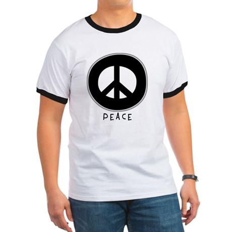 Peace Symbol: Black Men's Ringer Tee