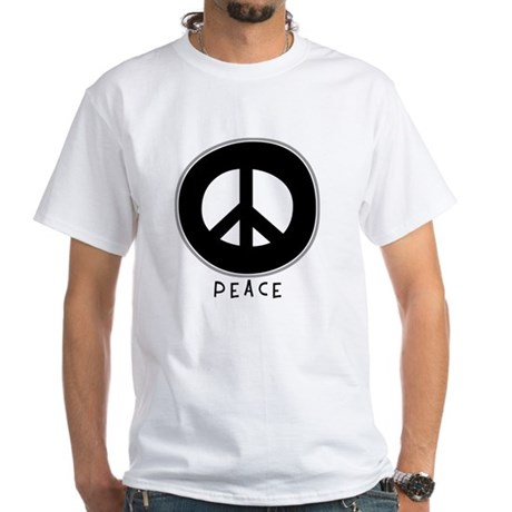 Peace Symbol: Black Men's White T-Shirt