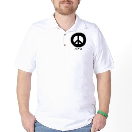 Peace Symbol: Black Golf Shirt