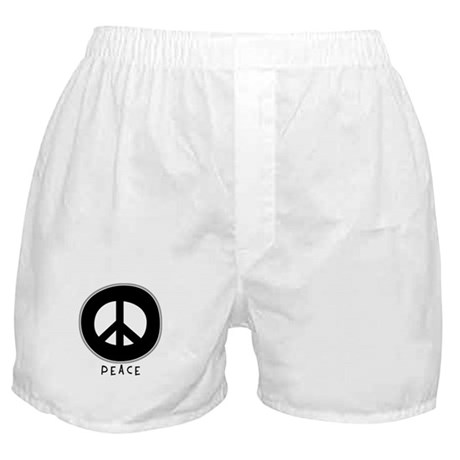 Peace Symbol: Black Boxer Shorts