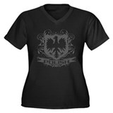 Polish Eagle Crest (grey) Women's Plus Size V-Neck