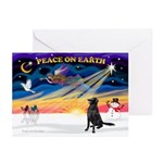 XmasSunrise/Flat Coat Retriev Greeting Card(Pk/10)